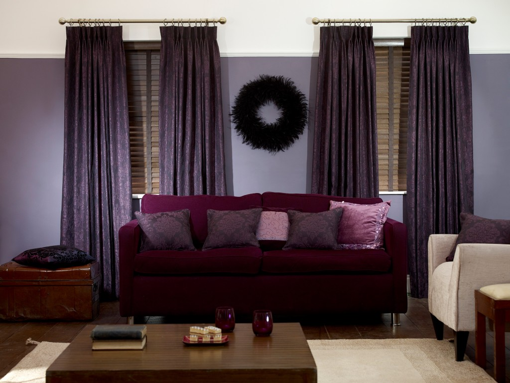 Curtains 2 go announces launch interior bulletin Living room with purple curtains